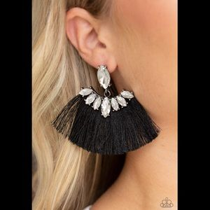 Paparazzi black fringe earrings new